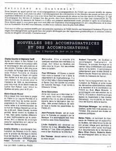 Retourner au Guatemala et L'exhumation de Petanac. Bulletin du PAQG, mai-juin 1999, pp.5 et 7