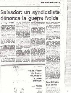Salvador, un syndicaliste dénonce la guerre froide. Le Soleil, 19 mars 1980