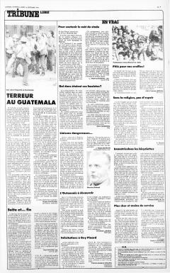 Terreur au Guatemala. LaPresse, 1 septembre 1981