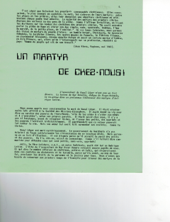 Un martyr de chez-nous! Caminando, vol.2, no.3, pp.5 à 8