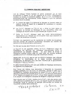 À l'opinion publique québécoise, Trabajadores chilenos en exilio