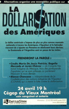Assemblée sur la dollarisation des Amériques, 24 avril 2001