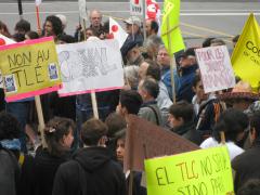 Manifestation contre l'ALE Canada-Colombie. SOS Colombie, Montréal, 10 juin 2009