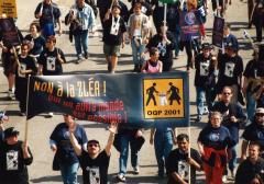 Non à la ZLÉA. Marche des peuples, Sommet des Amériques, Québec, 21 avril 2001