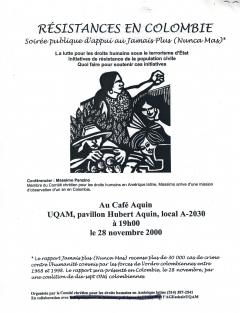 Soirée Résistances en colombie du CCDHAL, 28 novembre 2000